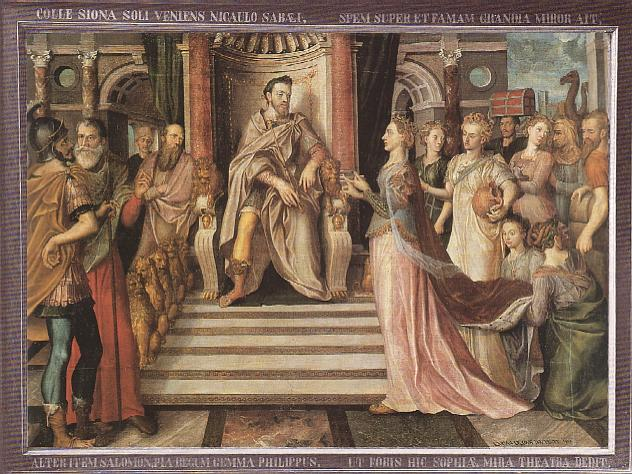 the Queen of Sheba visiting with King Solomon (the throne of Solomon depicted here is described in detail in 1 Kings 10) dans immagini sacre 29.%20de%20Heere,%20Lucas%20-%20Solomon%20And%20The%20Queen%20Of%20Sheba