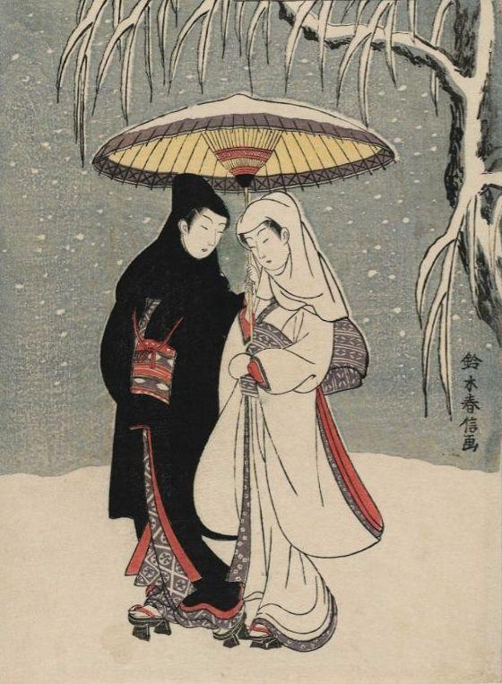 Harunobu Suzuki ,,Įsimylėjėliai apsnigtam sode